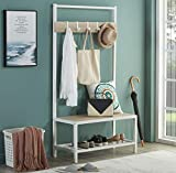 Homissue Modern Style 2 Shelf Hall Tree with Storage Bench, Light Oak Bench and Lower Shelf with White Steel Frame, Entryway Shoe Rack with 5 Hooks for Garments