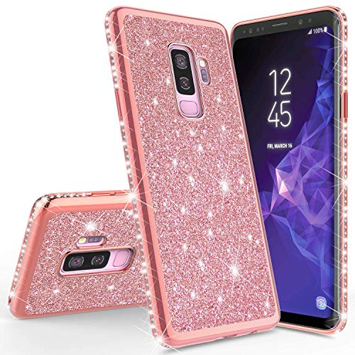 Homikon Silikon Hülle Kompatibel mit Samsung Galaxy A6 Plus 2018 Überzug TPU Bling Glitzer Strass Diamant Schutzhülle Ultra Dünn Kratzfest Soft Flex Durchsichtig Silikon Handyhülle Tasche - Rose Gold