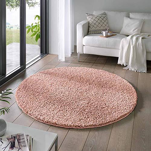 Taracarpet Shaggy Teppich Wohnzimmer Venezia Hochflor Langflor Teppiche modern Rosa 120 cm rund