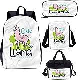 Llama 17 'Kids School Bookbags Set,Cute Pink Animal Cartoon 4 en 1 conjuntos de mochila