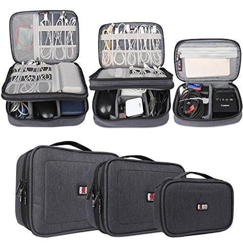 BUBM 3 Stücke Mehrfachfunktion Kabelorganiser Tasche Reisetasche mit Doppelschichten für Elektronische Zubehöre wie Netzteil, Maus und USB Stricks, Schwarz