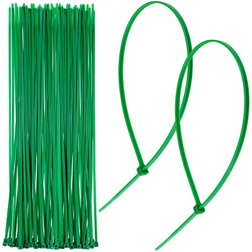 Christmas Banisters Ties Christmas Garland Ties Zip Ties Flexible Nylon Self Locking Green Ties for Holiday Christmas Craft Wrapping Decorations,16 Inch (100 Pieces)