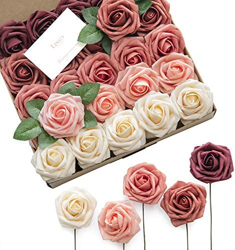Ling s moment Artificial Flowers Burgundy Ombre Colors Foam Rose 5 Tones for DIY Wedding Bouquets product image