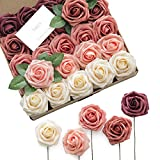 Ling's moment Artificial Flowers Fragrant Burgundy Ombre Colors Foam Rose 5 Tones for DIY Wedding...