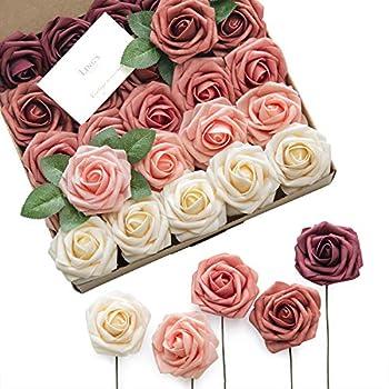 Ling s moment Artificial Flowers Burgundy Ombre Colors Foam Rose 5 Tones for DIY Wedding Bouquets Centerpieces Arrangments Decorations 25pcs