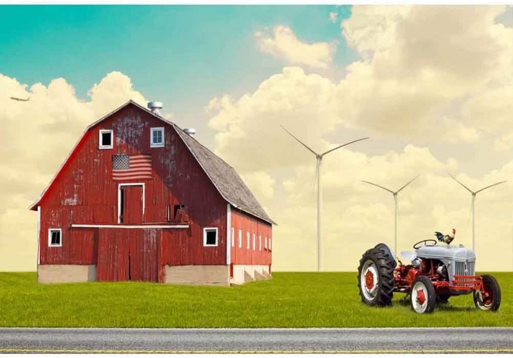 OFILA Rustic Barn Backdrop Polyester Fabric 5x3ft Country Farm Photos Background Tractor Outside Scenery Rural Landscape Shoots Kids Rustic Birthday Party Decoration Country Events Studio Props
