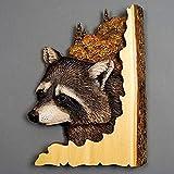 whchire Cartel de madera para colgar en la pared, diseño de animales, hecho a mano, para colgar en la pared, tallada a mano de madera pintada a mano