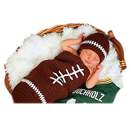 Kuingbhn Nouveau-né bébé Fille/garçon Crochet Tricot Cost Accessoires for Photos Stretch Wrap for Nouveau-nés Accessoires de Photographie Wrap-Baby for bébés garçons/Filles (Ballon de Rugby)
