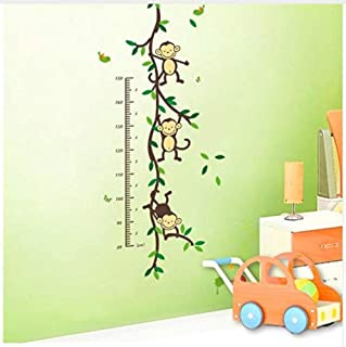 Wall Stickerwall Stickers Mural Cartoon Animal Monkey Home Dacor Wall Sticker Baby Child Height Measure Growth Chart for Kids Room Nursery Decals