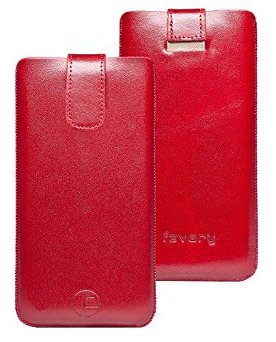 Original Favory Etui Tasche für Bea-fon SL340 / Beafon SL340i | Leder Etui Handytasche Ledertasche Schutzhülle Hülle Hülle Lasche mit Rückzugfunktion* in rot