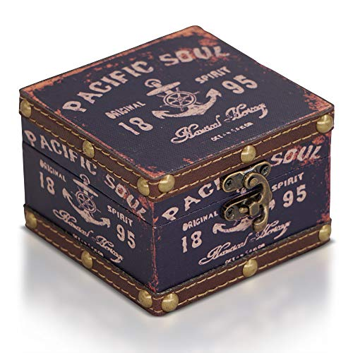 Brynnberg Schatztruhe dunkelblau 10x10x7cm - Piratenkiste, Aufbewahrungsbox, Schatzkiste, Deko Koffer Antik