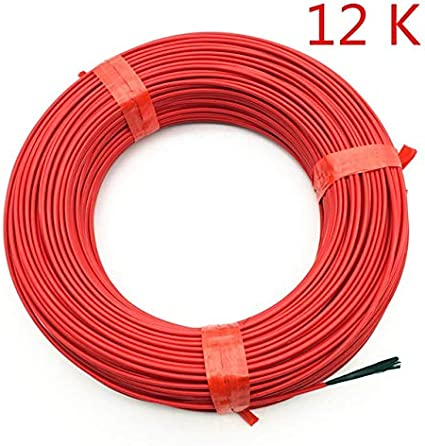 1pc 100m 12K 33Ohm 24k 18.5Ohm Carbon Fiber Heating Cables Infrared Radiant Floor Heating Wire Home Farm Heating Equipment Size : 24 K