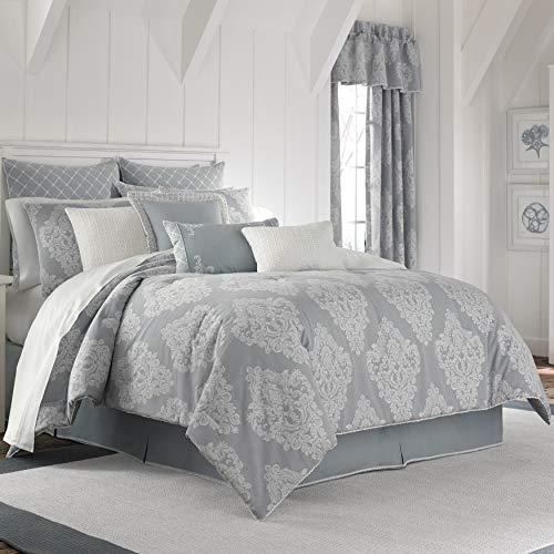 Five Queens Court Amelia Cottage 100% Cotton 4 Piece Comforter Set, Blue, Cal King 110x96