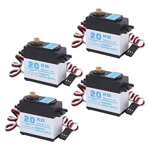 VGEBY Digitales Servo, 4 Stück/Set 20 kg Hochgeschwindigkeits-Drehmomentservo Metallgetriebe Digitales Servo für ferngesteuertes Auto im Maßstab 1:8 1/10