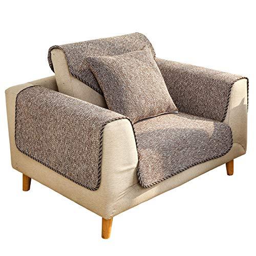 YUTJK Sofabezug, Sofaüberwürfe Polyester in Kleinen Stücken, Zusammensetzbar für die unterschiedliche Sofas, Dicke Sofabezüge aus Baumwollleinen, für Wohnzimmer, Braun