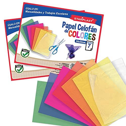 BLOCS PAPEL CELOFÁN STARPLAST - Pack 2 blocs, 14 Hojas 24x32cm, para manualidades o diseños - 7 Colores