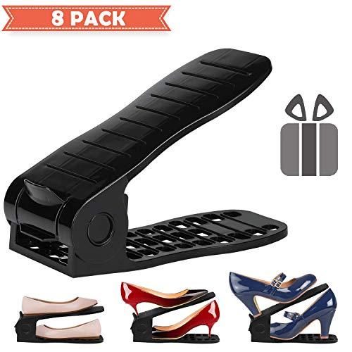 XSH 8 Verstellbaren Schuh/Schuh, Platzsparende Multifunktions Gleitschuh Schlitz Schrank, Kann Gespeichert Werden Schuhkarton,Schwarz