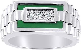 Juego de anillos de cuarzo y ónice verde para hombre en oro blanco de 14 quilates. La piedra es especial para este anillo....
