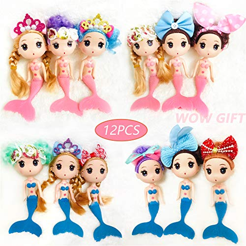 Cute 12pcs Mermaid Doll Cake Toppers for Ocean Theme Party Princess Mermaid Doll Figures for Girls Cake Decoration/Mermaid Party Favors/Christmas Gifts/Baby Shower Favors
