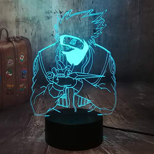 Naruto Japonés Hatake Kakashi Holding Dolch Uzumaki 3D LED Luz nocturna USB Baby Dormir Lámpara de mesa para el hogar Niños Niños vacaciones cumpleaños Juguetes de Navidad