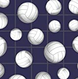 Volleyball Navy Anti-Pill Premium Fleece Fabric by The Yard