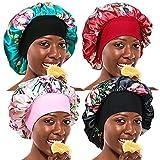 4 Pieces Wide Band Satin Cap Sleep Bonnet Soft Night Sleep Hat Hair Loss Cap Salon Bonnet for Women