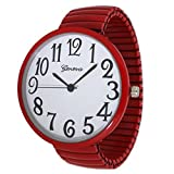 Geneva Super Large Stretch Watch Clear Number Easy Read (Red)
