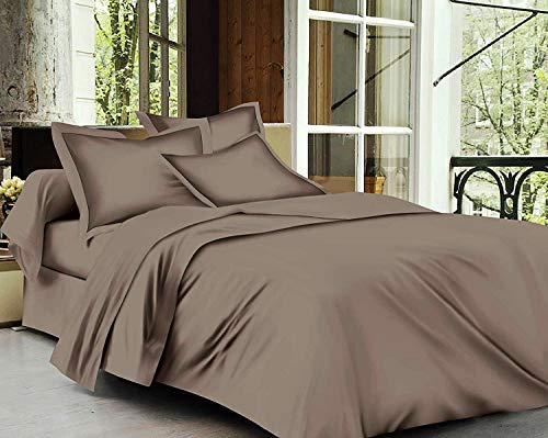 Trance Home Linen Cotton 400 TC Fitted Bedsheet (Brown Grey, Single - 78'x36' )