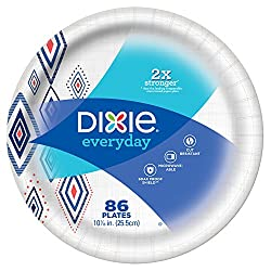 """Dixie Everyday Paper Plates, 10 1/16"""", 86 Count, Amazon Exclusive Design, Dinner Size Printed Dispos"""