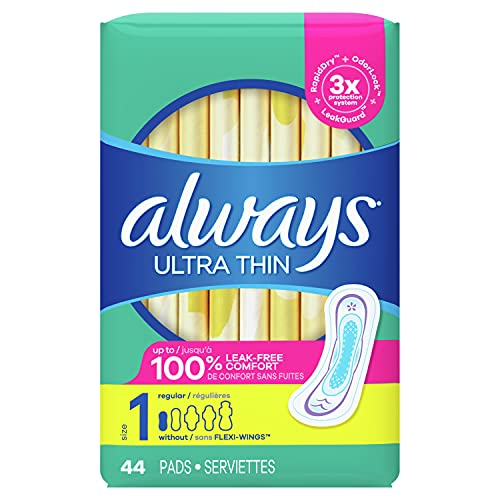 Always Ultra Thin Pads Size 1 Regular Absorbency Unscented without Wings, 44 Count
