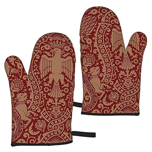 XCNGG Damask 3a Oven Mitts Fashion Soft Non-Slip Heat Resistant Safe Cooking Baking Grilling BBQ Party Kitchen Microwave Oven Funny Home