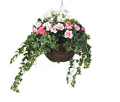 Closer To Nature HBKL23 - Cesta colgante clásica, con plantas artificiales de Azalea y Geranio, 35 cm