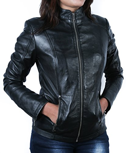 Urban Leather UR- 244 Rt01 Giacca in Pelle da Donna alla Moda, Nero, Taglia S