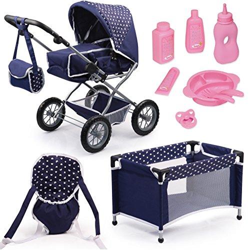 Bayer Design- Bayer Design15051AB, Cochecito de muñecas Combi Grande, con Cama, Bolsa, Porta, Accesorio, Azul, Color, 77 x 43 x 75 cm (15051AB)