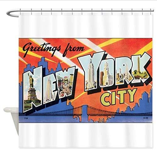 Yiciyici 3D Duschvorhang New York.Jpg - Dekorativer Stoff Duschvorhang 3D Effekt Umweltfre&liche Badezimmer Hauptdekoration Badezimmer 180(H) X210(W)