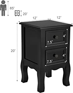 Giantex Nightstand Wooden Mini W/ 2 Storage Drawers for Living Room Bedroom Kid's Room Storage Accent Home Funiture End Table (2, Black)