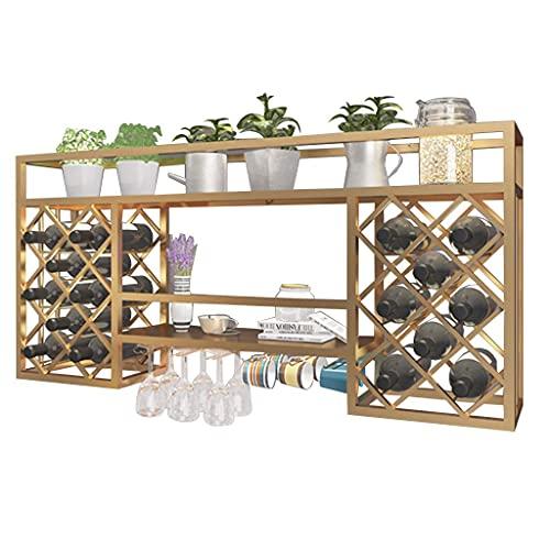 Alqn Estante para Vino Montado en la Pared Estante para Copas de Vino Colgante de Hierro Soporte para Botellas de Vino con Soporte para Vasos de Metal para el Hogar Decorativo Bar Comedor Cocina,Oro,