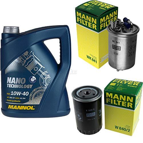 Mannol - Juego de filtros de aceite para motores Nano Technology 10W-40 API SM/CF MANN-FILTER (5 L)