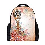 Zaino Bookbag Daypack Music Microfoni Impermeabile per Middle Travel Girls Boys