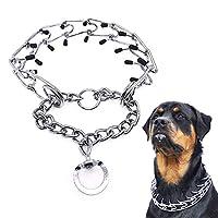 PetDream 犬の犬は、快适なゴム头の训练チェーンステンレスを、ペットのネックレスを取り外します。 (L)