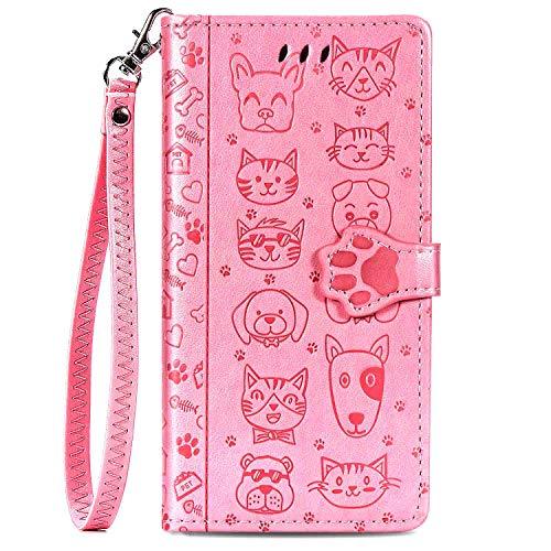 iEugen Kompatibel mit iPhone 12 Pro Max Brieftaschen-Hülle, 3 Kreditkartenfächer, Ausweishalter, PU-Leder Flip Case mit Ständer, Magnetverschluss, geprägtes Tier, Katzen und Hunde, Rosa