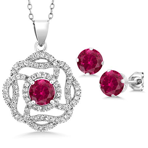 Gem Stone King Sterling Silver Red Created Ruby Pendant Earrings Set 5.06 cttw Round with 18 inches Chain