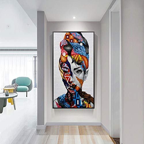 RuYun Figuras Coloridas de Audrey Hepburn Cuadro de Lienzo Cuadros de Pared para Sala de Estar Impresión de Lienzo Arte Moderno de Lienzo, 50x80 cm SIN Marco