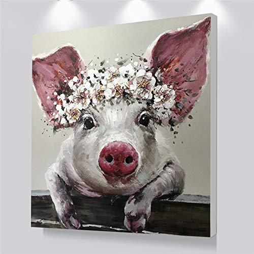 yhyxll Wandkunst Leinwand Poster Niedlichen Schwein Tier Ölgemälde Baby Raumdekoration Bilder Kunst Nordic Kinder Dekoration Kein Rahmen 60x60 cm