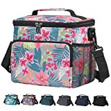 Pintaste Insulated Lunch Bags for Women/Men - Reusable Lunch Box for Work Beach Picnic Spacious Lunch Cooler Tote Bag with Multi-Pockets and Adjustable Shoulder Strap for Kids/Adult, Flower