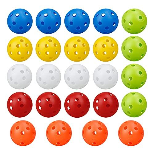 Palline da Golf per Allenamento,24 PCS Palline di Plastica Perforate Colorate Palline Airflow,Golf Accessori Attrezzatura da Pratica all'aperto,42mm