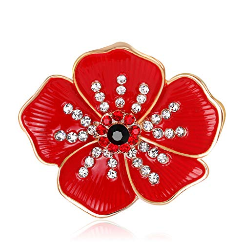 Bling Stars ed Poppy Brooch Flower Broach Lapel Pin Diamante Crystal Banquet Red Poppy Flower Remembrance Gift