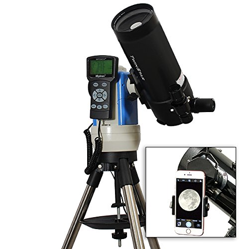 TwinStar Black 90mm iOptron Computer Controlled Cassegrain Telescope With Universal Smartphone Camera Adapter