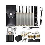 ZHAOW Juego de Ganzúas 26 Piezas de Equipo de Desbloqueo con 3 Candados de Entrenamiento Transparentes para Principiantes y Cerrajeros Práctica Práctica Conjunto de Herramientas Lock Picks Set