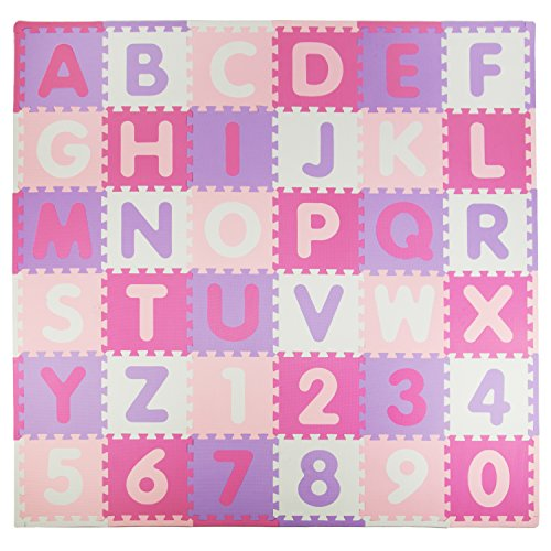 Why Should You Buy Tadpoles Soft EVA Foam 36 Piece ABC Playmat Set, Pink/Purple, 74x 74 (36 Sq Feet)